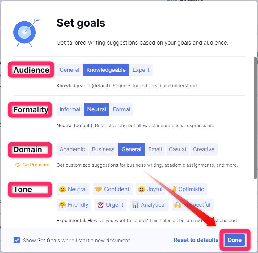 Grammarly Set Goal